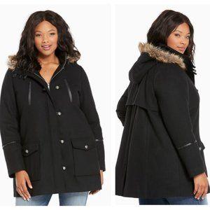 Torrid Faux Fur Hood Wool Coat Deep Black Size 2
